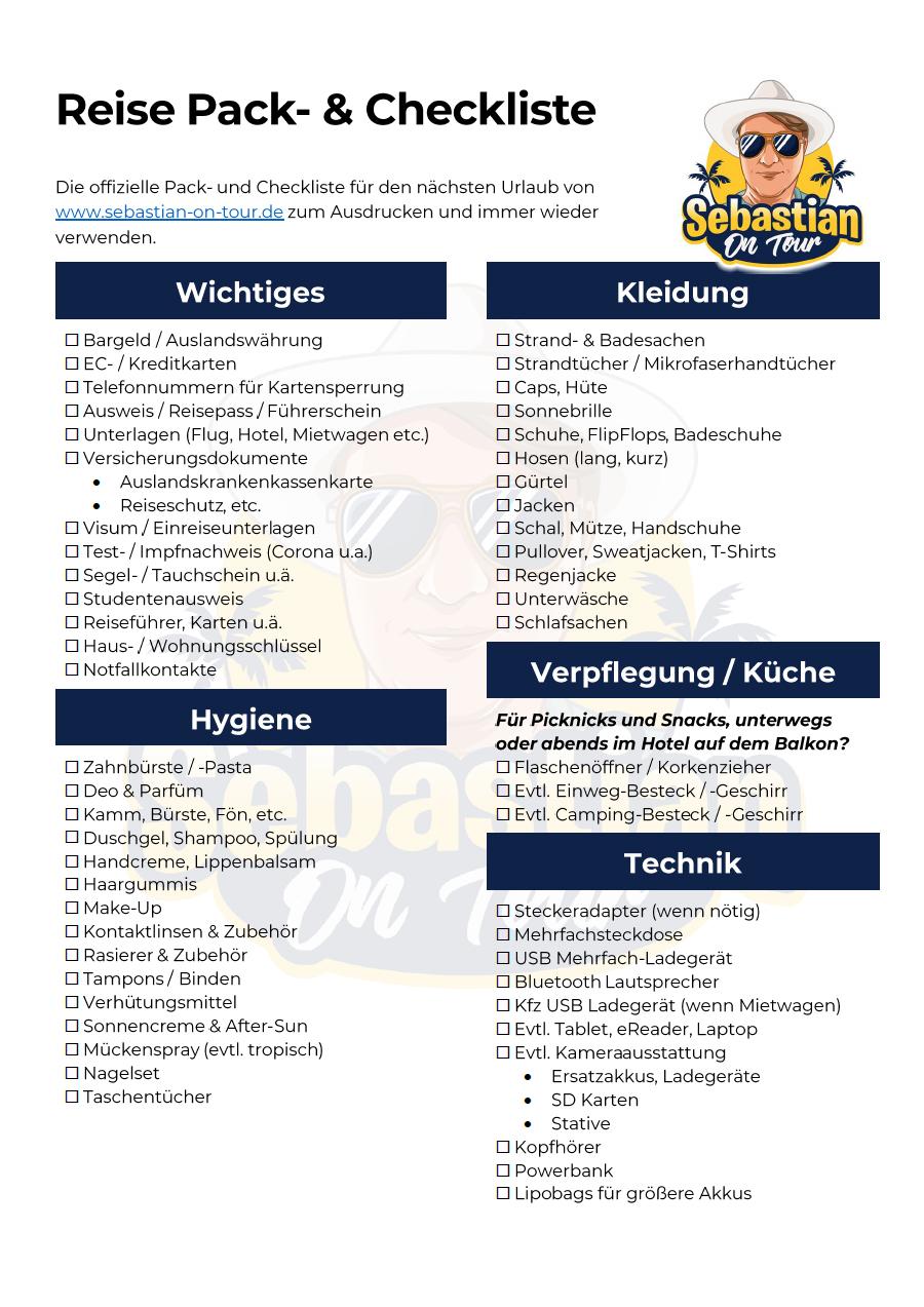 Reise Check und Packliste Seite 1 Sebastian on tour