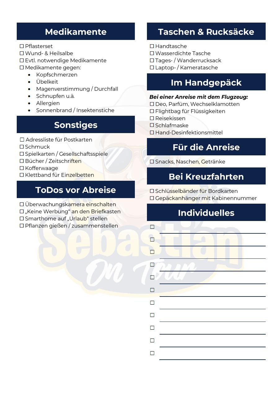 Reise Check und Packliste Seite 2 Sebastian on tour